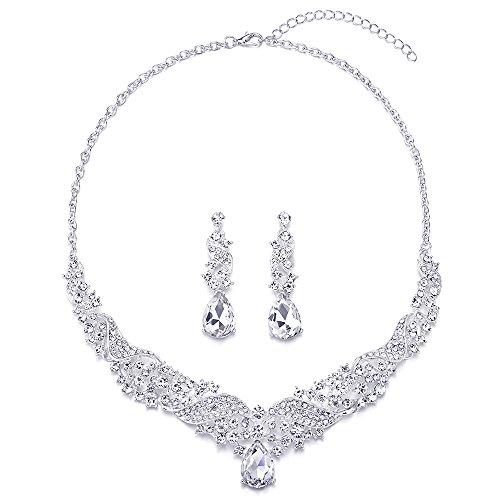 COOLSTEELANDBEYOND Wedding Bridal Crystal Rhinestones Cluster Filigree Teardrop Y-shape Statement Necklace Earrings Set