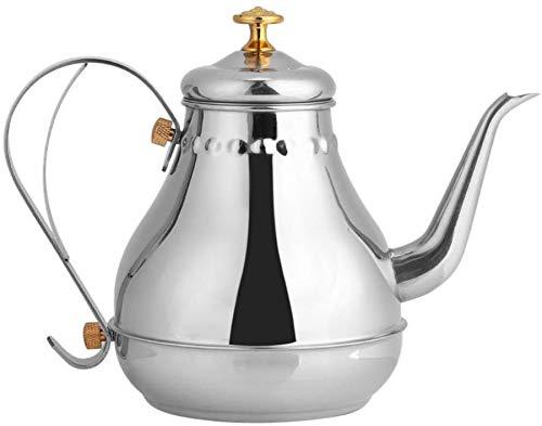 Hervidor de te de acero inoxidable con cuello de cisne y filtro de te de 1,2 l – Calentar con cocina de fuego/induccion