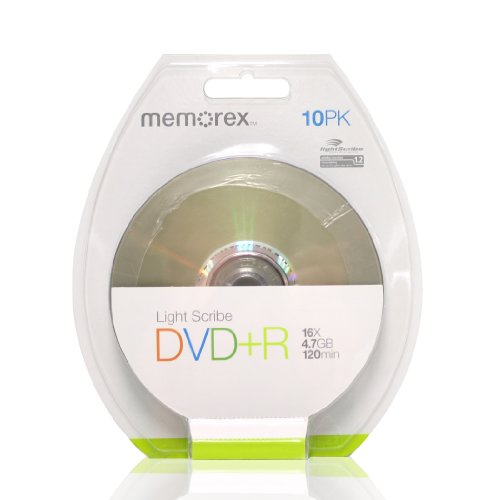 Memorex 120 min. (sp)/4.7 GB DVD+R 16x Light Scribe (10-pack) by Memorex