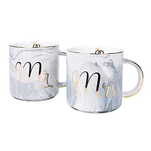 Vilight Bridal Shower Engagement and Wedding Gifts - Mr and Mrs Couples Mugs - Ceramic Marble 11.5 oz