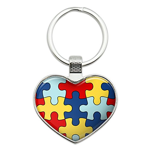 Autism Awareness Diversity Puzzle Pieces Heart Love Metal Keychain Key Chain Ring