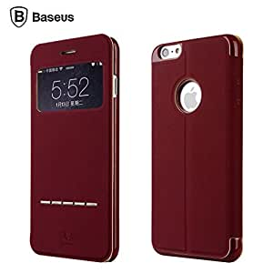 For iphone 6 Plus , Leathlux Baseus View Window [Attractive Design] Folio Premium PU Leather Protective Case Cover for Apple iphone 6 Plus (5.5 inches) Red