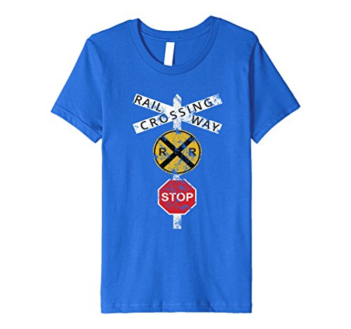 Kids COOL DISTRESSED RAILROAD CROSSING SIGN T-SHIRT Train Warning 6 Royal Blue