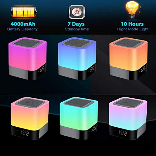 HOMPOT- Night Light Bluetooth Speaker, Touch Sensor Bedside Lamp Warm Light and Color Changing Alarm Clock, MP3 Player, USB, AUX, 4000mAh Battery Best Gift for Kids, Party, Bedroom, Outdoor. by HOMPOT (Image #3)