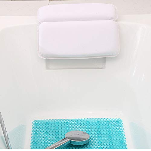 PENGKE Premium Spa Bath Pillow Pad For Tub With Gripping Suction Cups,Super Soft,Waterproof Luxury Pillows for Bathtub,Large Size,14.5 x 11 inch