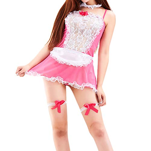 Sexy Lingerie Apron French Maid Costume Cosplay Lace Uniform Outfit Sets Clubwear with Stocking Hot -