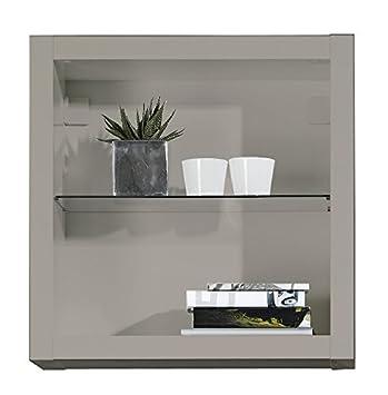 Elegance Hängeschrank Match + Glas Wandschrank Vitrinen-Schrank Grau ...