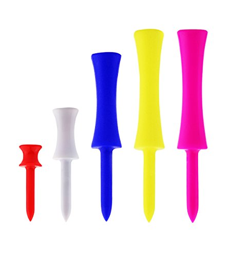 Xunlong 50 Pack Golf Tees, Plastic Golf Step-Down Tees Mixed Color Golf Step Tees 4 Sizes Drive Step