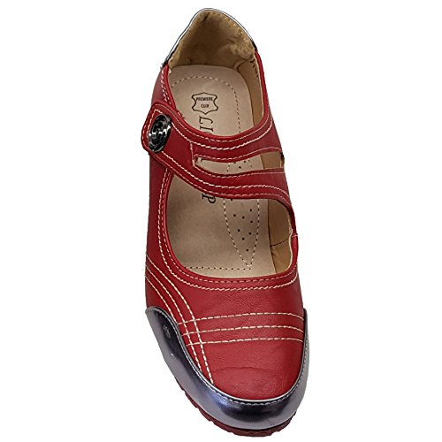de Up de Cuero Zafiro Spiral Botón Línea Charol Zapatos Hebilla Medio Dama Boutique Cuña Rojo 8Pg74tP