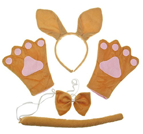 [Animal Ear Kangaroo Headband Paw Glove Bowtie Tail Collar Fancy Dress Costume for Children Adult Child Halloween] (Childrens Kangaroo Costume)