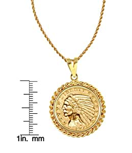 """$5 Indian Head Gold Piece Half Eagle Coin in 14k Gold Rope Bezel (24"""" - 14k Gold Rope Chain)"""