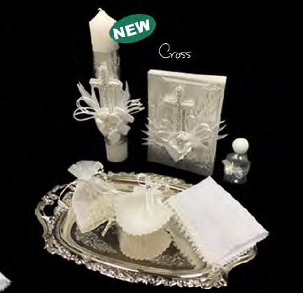 English Handmade Christening/Baptism Cross Laminated Silver Set for Girl, Boy, or Unisex : Candle, Bible, Dry Cloth, Sea Shell, Rosary and Holy Water Bottle Silver Tray–Bautizo Religious Gift (Blue)