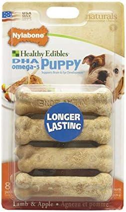 Nylabone Hlthy Edible Pup Lamb Apple Pet 8pk