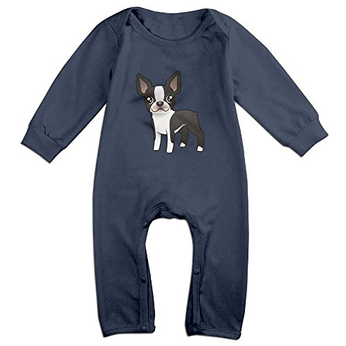 Eilinqch Cute Boston Terrier Baby Boys Girls Cute Long Sleeve Romper Jumpsuit Bodysuit 12 Months Navy (Baby Hazel Halloween Party Game)