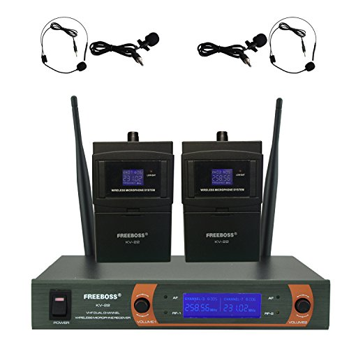 Freeboss Kv-22 VHF Dual Way Headset and Lavalier Wireless (Professional Vhf Wireless Headset Microphone)