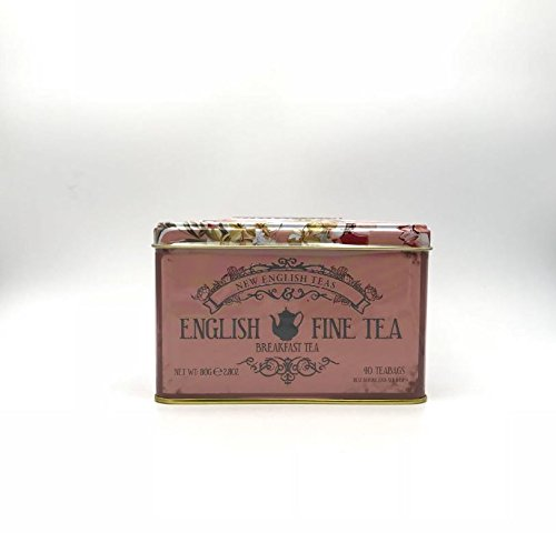 English breakfast tea 40 tea bags in an attractive floral and elegant design tin