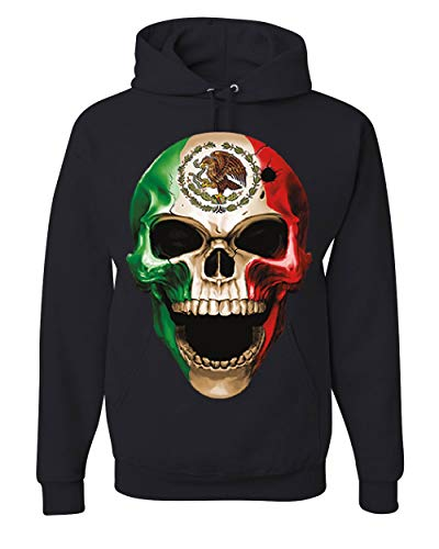 Skull Face Mexican Pride Hoodie Mexico Ethnic Golden Eagle Flag Sweatshirt Black L