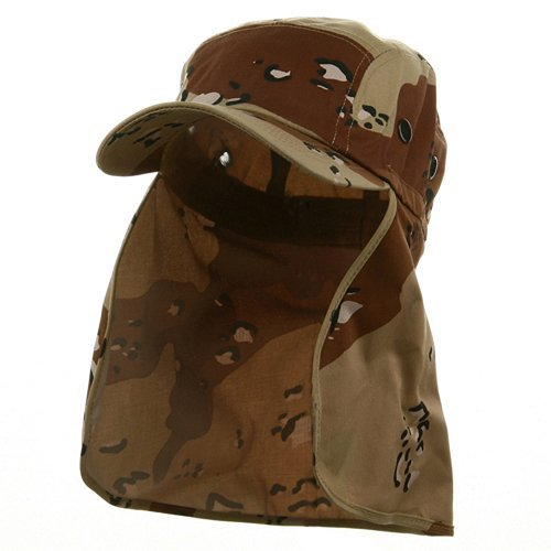 (Wholesale Camouflage Twill Cap With Flap (Desert) - 21936)