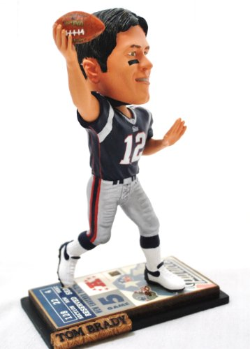 New England Patriots Official NFL #12 Tom Brady rare ticket base action Bobble Head