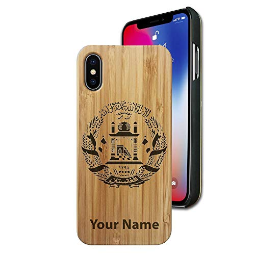 (Bamboo case Compatible with iPhone X and iPhone Xs, Flag of Afghanistan, Personalized Engraving Included)