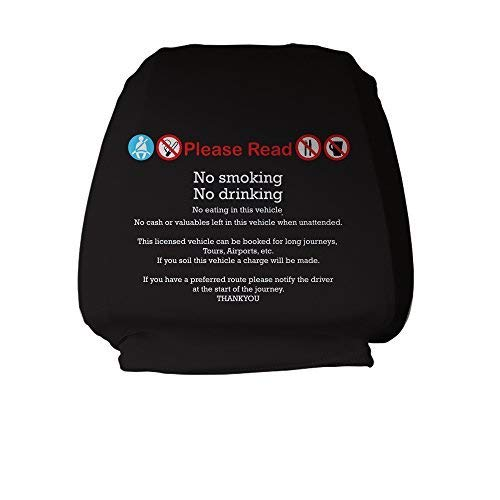L/&S PRINTS FOAM DESIGNS Head Rest Covers 2 Pack No Smoking No drinking Black Design Taxi Van Bus