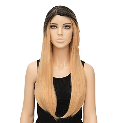 Alacos Fashion Long Straight Synthetic Heat Resistant Brown Ombre to Gold Orange Costums Wig for Women +Wig Cap
