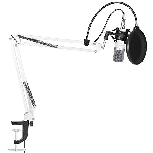 (Neewer NW-700 Microphone Kit,includes:(1) Condenser Microphone + (1) Microphone Suspension Scissor Arm Stand with Mounting Clamp+(1) Pop Filter+(1) Shock Mount(White) )