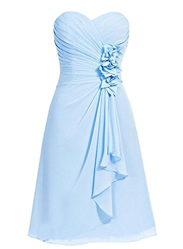 Belle Lady Women's Chiffon Sweetheart Homecoming Prom Dress Bridesmaid Dresses Light Sky Blue US14 Chiffon Sweetheart Neckline Column
