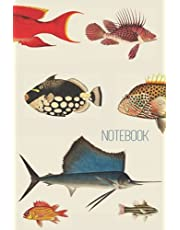 """Fish Notebook: Vintage Style Fish Journal Notebook Lined   Blocs-notes   Unique Cover Ocean Notebook Design   The Perfect Gift for adults and kids   Vintage Fish Journal - 120 Pages - 6"""" x 8"""""""