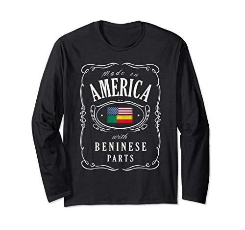 Unisex Vintage Benin Usa Long Sleeve T-shirt Beninese American Flag Large Black