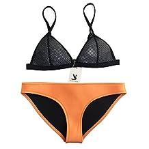 New Women Neoprene Bikini Mesh Top with Bottom Bathing Suit Swimsuit Orange