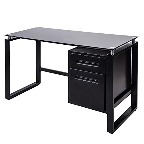 Merax Home Office Computer Desk Table Workstation with Metal Cabinet and Glass Top (Black) (Glass Table With Drawers)
