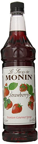 Monin Flavored Syrup, Strawberry, 33.8-Ounce Plastic Bottles (Pack of 4)