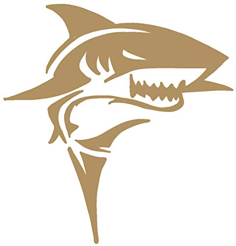 hBARSCI Shark Vinyl Decal - 5 Inches - for Cars, Trucks, Windows, Laptops, Tablets, Outdoor-Grade 2.5mil Thick Vinyl - Gold