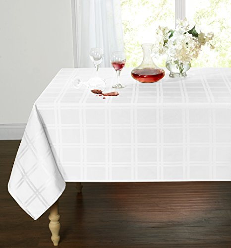 Spill Proof/Stain Resistant Plaid Tartan Fabric Tablecloth by GoodGram - Assorted Colors & Sizes (54 in. W x 72 in. L Oblong, White)