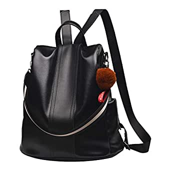 Backpack Purse for Women PU Leather Anti-theft Backpack Casual Satchel School Shoulder Bag for Girls(Black)