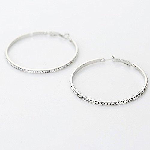 1pair Rhinestone Big Circle Earrings Imitation Rhodium Plated Hoop (Imitation Rhodium Plated)