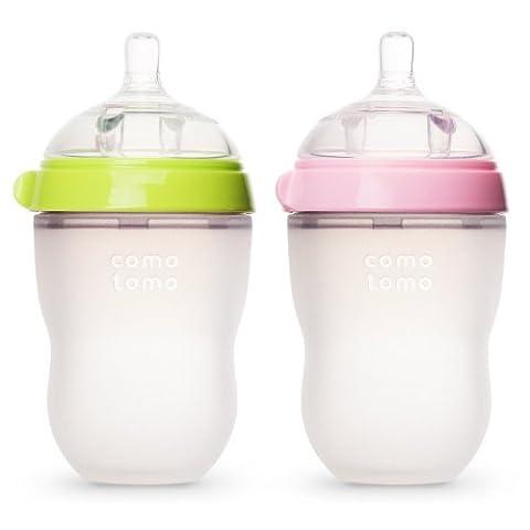 Comotomo Natural Feel Baby Bottles, Green & Pink, 250ml (8 oz)