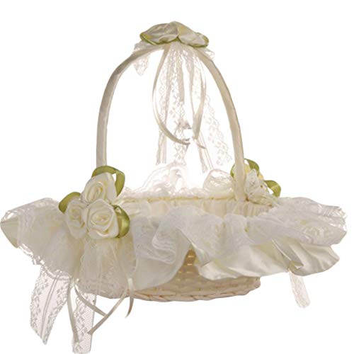 Binory New Romantic Pearl Bowknot with Butterfly Bouquet Silk Cloth,Wedding Ceremony Anniversary Party Rose Flower Girl Basket Portable Makeup Basket Filled Easter Toys Gift(A)