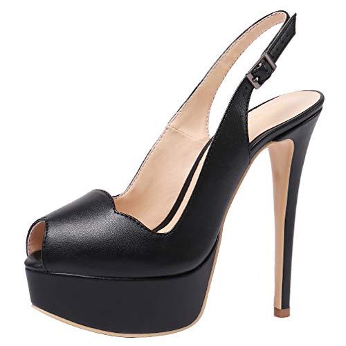 - AOOAR Women's Slingback High Heels with Platform Black PU Party Pumps 7.5 M US