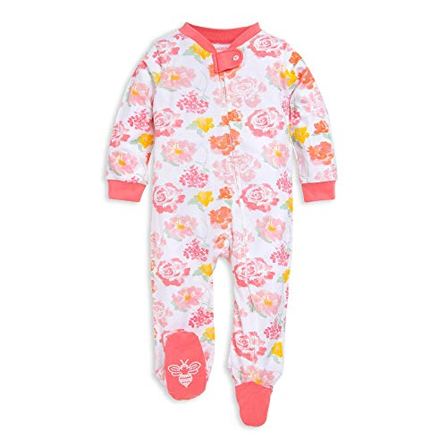 Burt's Bees Baby Baby Sleep & Play, Organic One-Piece Romper-Jumpsuit PJ, Zip Front Footed Pajama, Rosy Spring Newborn