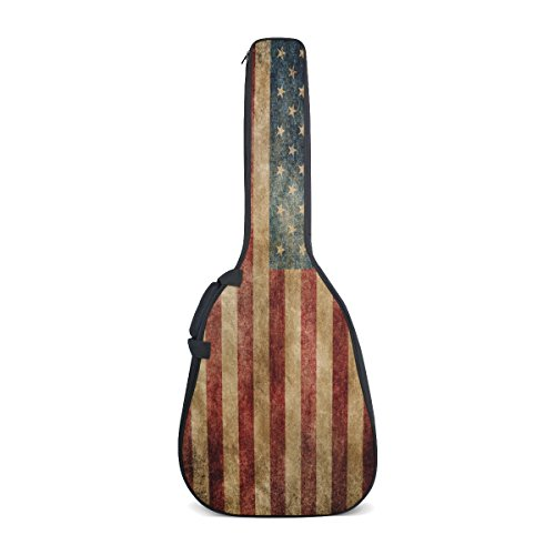ALAZA Vintage American Flag 4th July Independence Day Waterproof Canvas 40 41 Inch Guitar Gig Bag Cover Case with Double Backpack Straps