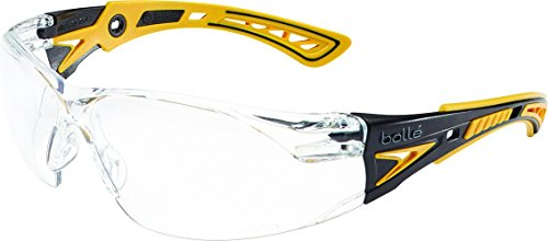Bolle Safety Rush+ Safety Glasses, Yellow & Black Frame, Clear - Factory Outlet Glass