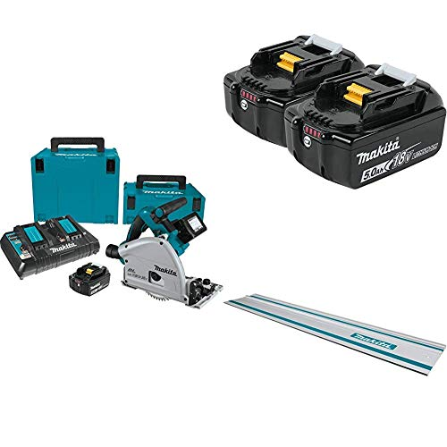 Makita XPS01PTJ 18V X2 LXT Lithium-Ion (36V) Brushless Cordless 6-1/2-Inch Plunge Circular Saw Kit (5.0Ah),39-Inch Guide Rail and Extra18V Lithium-Ion 5.0Ah Batteries