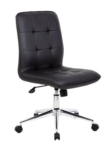 Boss Office Products B330-BK Mellennial Modern Home Office Chair without Arms in Black ()