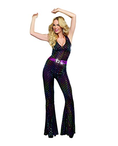 Dreamgirl Women's Disco Doll Costume, Black, (Farrah Fawcett Costume)
