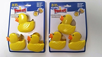 6 Yellow Duckie Duck Chip Clips. Spring Loader Bag Sealer