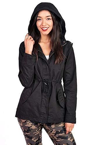 Pink Ice Women's Trendy Cargo Style Hoodie Jacket (Medium, Black) ()