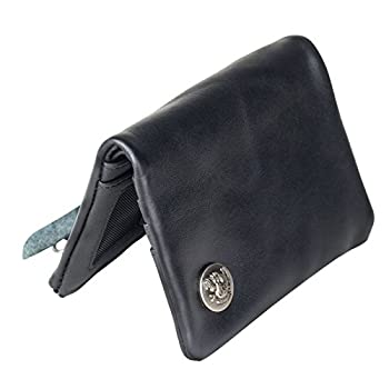 Mens Leather Wallet Black Bifold with Coin Pocket For Men Women