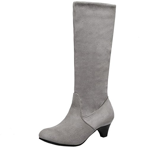 Pull Boots Mid Women 1457 On Heel Kitten Classical TAOFFEN High Shoes Autumn Gray I8Hq1Y1
